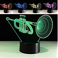Lovely 3D Saxophone Musical Instrument Night Light USB Touch Switch Decor Table Desk Optical Illusion Lamps 7 Color Changing Lights LED Table Lamp Xmas Home Love Brithday Children Kids Decor Toy Gift