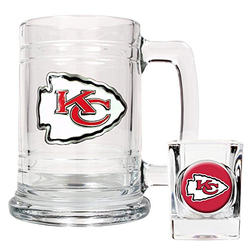 Kansas City Chiefs NFL 2pc Rocks Glass Set - Helmet logo
