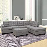Ashley KDIHAS Grey Charcoal Sectional Sofa Couch with Chaise and Ottoman 3pc Modern Reversible