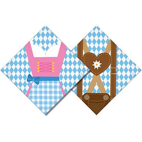 Amakando 20 Serviettes à Motif Oktoberfest / 33 x 33 cm / Serviettes en Papier avec Motif Tenue Traditionnelle / Parfait pour Oktoberfest & taverne