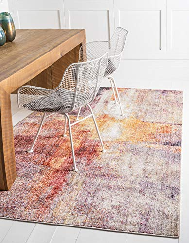 Unique Loom Downtown Collection by Jill Zarin Collection Abstract Modern Vintage Warm Watercolor Pastel Tones Multi Area Rug (8' 0 x 10' 0)