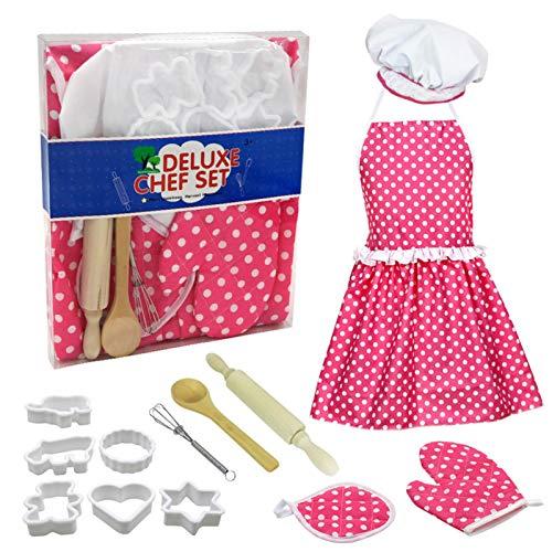 Raspbery Juego de cocinar y Hornear para niños Juguete para niños pequeños Chef Traje Carrera Juego de rol Utensilios de Cocina Herramientas para Hornear Upgrade