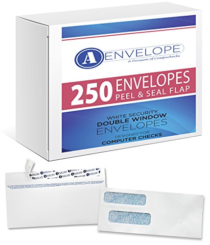 250 Double Window Self Seal Security Check Envelopes - Compatible for QuickBooks