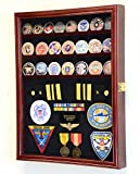 Challenge Coin/Medals/Pins/Badges/Ribbons/Insignia/Buttons Chips Combo Display Case Box Cabinet (Cherry Finish)