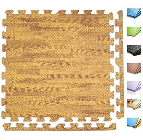 ANTEVIA – Tapis de sol en mousse sans BPA | Plus de 30 Coloris : Dalle clipsable protection jeux sport enfant bébé gym souple (Modèle bois marron clair) - Lot de 2