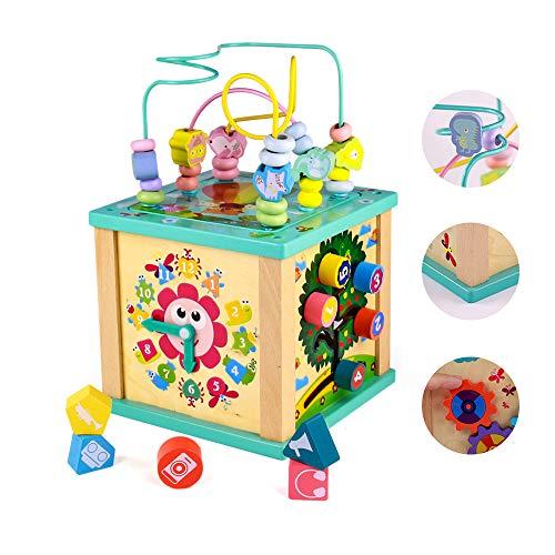 yoptote Cube d'activité Bébé avec Abyrinthe Boulier Jouet Bois Montessori Bebe Jouet Fille Garcon 3 4 5 Ans