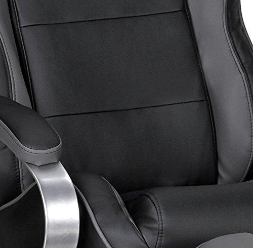 Amstyle Fernsehsessel Sporting TV Design Relax-Sessel verstellbar Racing Modern Bezug Kunstleder drehbar mit Hocker Racer X-XL 110 kg mit Armlehnen und Hocker Gaming Sessel ohne Motor schwarz/ grau
