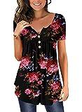 Ranphee Womens Black Flroal Short Sleeve Henley V-Neck Summer Tunic Tops Shirts L