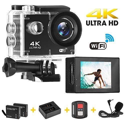 Cámara Deportiva, Acción 4K Ultra HD WiFi Video Cámara/ EIS (Funciones Anti-Shaking) / 2 Recargables 1200mAh Baterías/ Kits de Instalación/ 2.4G Control Remoto/ Impermeable 30M/ Gran Angular de 170°