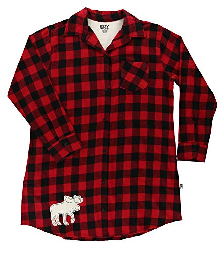 Lazy One Button-Up Sleep Shirt, Nightshirts for Women, Animal-Themed Designs (Moose Plaid, S/M) Big One Satin Button