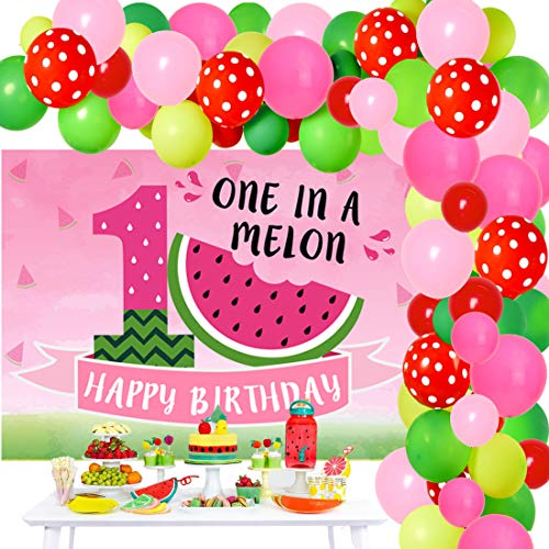 Watermelon 1st Birthday Decorations - One in a Melon Party Decorations Balloon Garland Arch Kit with Backdrop Background Banner for Girl Boy 1st Birthday