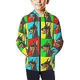 Teenage Zipper Hoodie,Doberman Pinscher Dogs Teen Fleece Full Zip Jackets Pullover Hoodies 18-20 Years