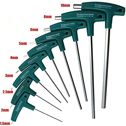 Llaves hexagonales de 3 mm con mango en T, llave hexagonal, destornillador de ángulo métrico, llave de vaso con mango en T para tornillos hexagonales, 1,5 mm