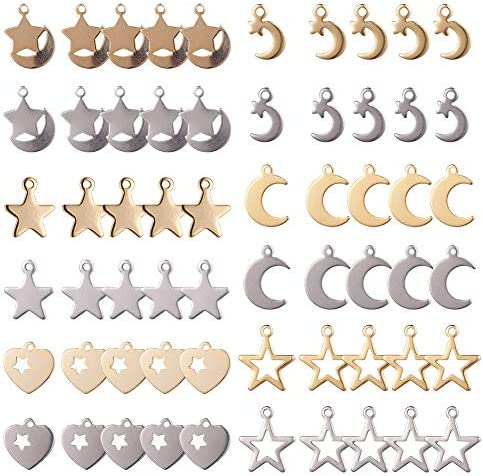 SUNNYCLUE 1 Box 60Pcs Moon Star Heart Charm Pendant Gold Plated Stainless Steel Stamping Blank product image