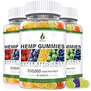 3 Pack Hemp Gummies 350,000MG Stress & Anxiety Relief - 240ct - Sleep Aid,Calm & Mood Support Premium Natural Hemp Extract Rich in Omega 3-6-9