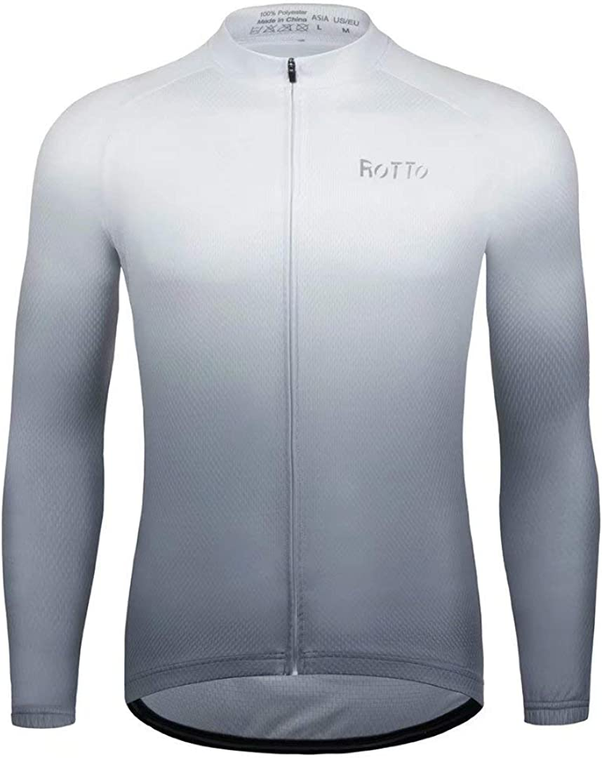 ROTTO Cycling Jersey Men Bike Shirts Long Sleeve Gradient Color Series