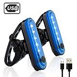 自転車 テールライト 2個セット USB充電LEDライト 防水点滅サイクルライト 4点灯モード セーフティーライト 夜間走行の視認性をアピール 簡単装着 (青)