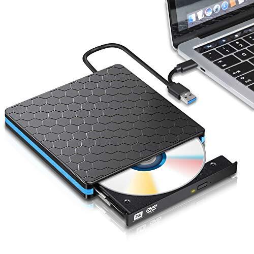 External DVD Drive, M WAY USB 3.0 Type C CD Drive, Dual Port DVD Player, Portable Optical Burner Writer Rewriter, High Speed Data Transfer for Laptop Notebook Desktop PC MAC OS Windows 7/8/10