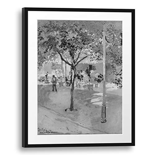 Printed Paintings Passepartout (60x80cm): F. Luis Mora - Street Cafe-Sant Feliu de Guixols