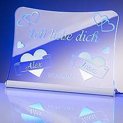 """LED Acrylglas Schild""""Ich liebe dich"""", 20x15 cm, mit persönlicher Laser Gravur (blau)"""