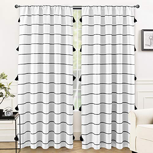 DriftAway Tassel Stripe Printed Boho Blackout Thermal Insulated Window Curtain Rod Pocket 2 Layers 2 Panels 52 Inch by 84 Inch Black
