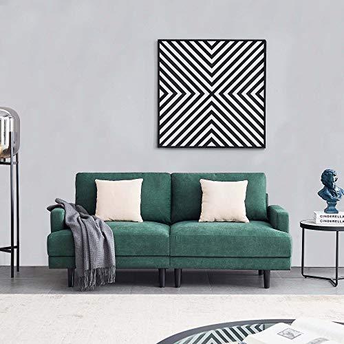 Belissy Sofá de salón, sofá, sofá de 3 plazas, sofá de tela de 3 plazas, sofá de 3 plazas, sofá de tela de poliéster, tapicería para pequeños apartamentos, diseño moderno, 180 cm (esmeralda)