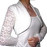 Elegante vestido corto para ceremonia de encaje y raso cárdigan para bodas, bautizos y mujeres Bianco 34/40 ES
