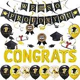 Kreatwow Complimenti Palloncini Decorazioni per feste di laurea 2021 con Siamo così orgogliosi di te Banner, stamina di laurea nero e oro, l'abbiamo fatto palloncino