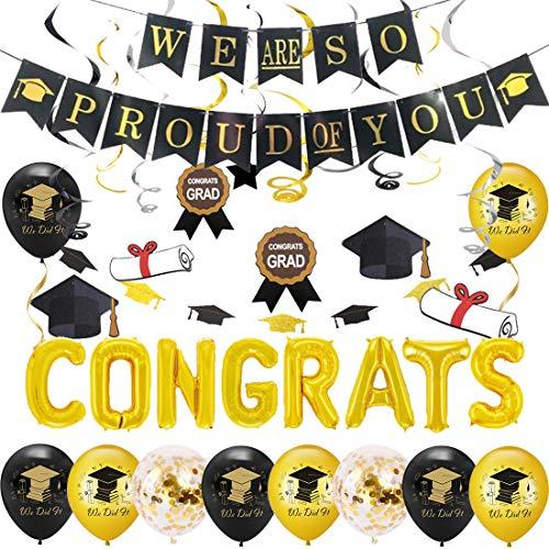 Felicitaciones Globo Graduación Fiestas Decoraciones 2020 con Estamos tan orgullosos de ti Banner, Graduación Bunting Black and Gold, We Did It Balloon