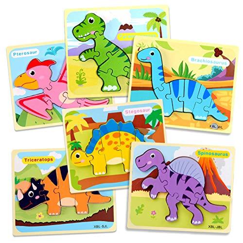 OleOletOy Holzpuzzle für Kinder ab 3 Jahr - 6 STK. Steckpuzzle Pädagogisches Spielzeug mit Aufbewahrungstasche für Baby - Puzzlespiel Set Geschenk Bunte Tierpuzzle (Dino Puzzles)