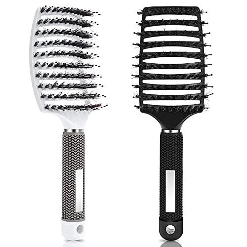 Vickey Haarbürste Wildschweinborsten, Entwirrende Haarbürste Damen, Weiche Bürste für lange, lockige Haare, Haarbürste Ohne Ziepen, Herren Haarstyling Bürste