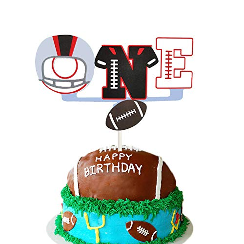 Football First Birthday Cake Topper, Sport Party Cake Decor, Sport/Chargers/Athlete/Field Goal/Helmet/Football Themed 1st First Birthday Baby Shower Party Cake Supplies Decorations