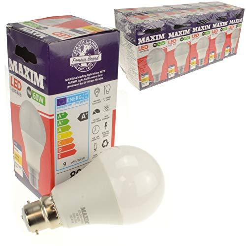 Maxim Lampe LED, B22,, 9W/60W Bayonet GLS LED Bulb, blanc chaud, 10
