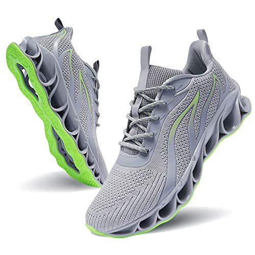 MOSHA BELLE Men Athletic Shoes Grey Mesh Blade Running Walking Sneakers, 10.5