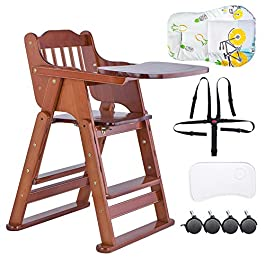 Baby High Chair, Wooden High Chair with with Removable Cushion/Tray/Wheels for Baby/Infants/Toddlers
