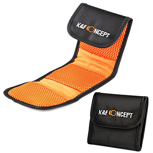 K&F Concept Bolsa de Filtros Funda para 3 Filtro Bolsa con 3 Bolsillos Funda Caso para Filtros de Cámara Canon Nikon Sony etc…