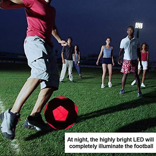 YakeHome Light Up Balón de fútbol Goma Impermeable Tamaño 5 Glow ...
