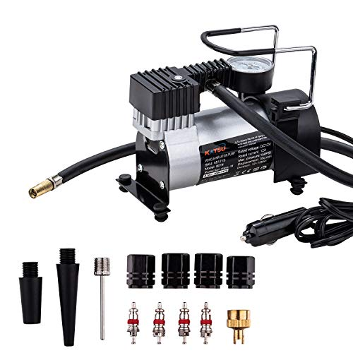 KATSU Compressore portatile auto 12V DC 14A 150PSI pompa per pneumatici per auto, furgoni, 4x4 + 3 adattatori ugelli