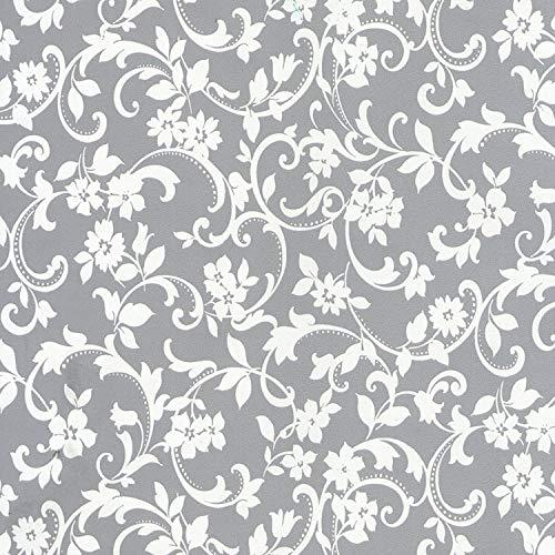 Venilia Klebefolie Cirrus Motiv, Blumen, Dekofolie mit Blumenmuster, Möbelfolie, Tapete, Selbstklebende Folie, PVC, ohne Phthalate, grau, 45cm x 1,5m, Stärke: 0,095mm, 53236