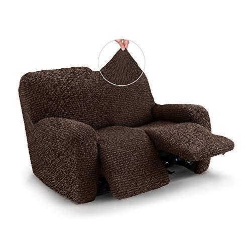 Mille Righe Collection - Funda para sillón reclinable de 2 plazas - Funda de tela de poliéster suave - 1 pieza de protección elástica para muebles - Marrón