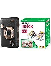FUJIFILM Instax Mini LiPlay Hybrid Instant Camera (Elegant Black) and Fujifilm Instax Mini Picture Format Film - Value Pack 40 Shots Films (White)