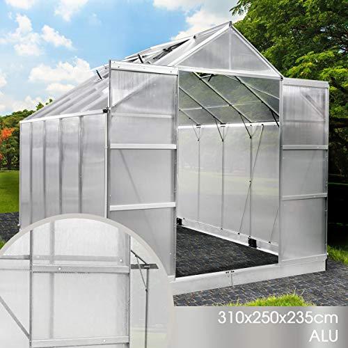 BRAST Gewächshaus Aluminium mit Fundament rostfrei 310x250x235 6mm Platten Alu Treibhaus Glashaus Tomatenhaus