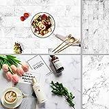 Fondo de mármol de doble cara Patrón de textura blanca Telón de fondo de fotografía para pastel, joyería, tablero de papel recién nacido Photo Studio Props 15.7x34.6 pulgadas