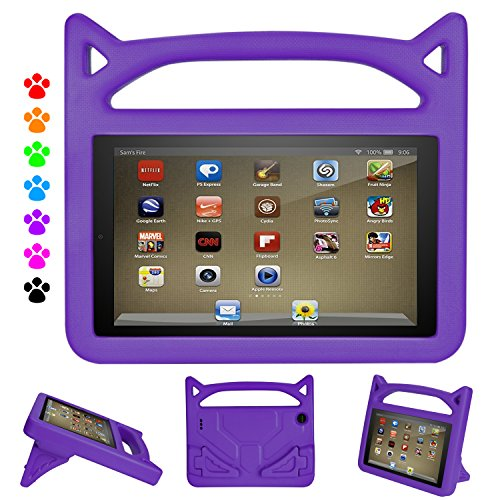 All-New 2019 7 inch Tablet Kids Case - Auorld Light Weight Shock Proof Kids Cover with Handle for 7 inch Display Tablet (Purple)