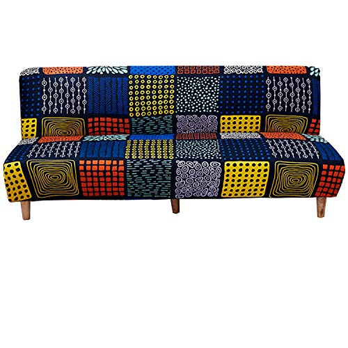 WOMACO Printed Futon Cover Stretch Sofa Bed Slipcovers Full Twin Queen Size Armless Couch Loveseat Protector Covers with Elastic Bottom for Living Room Bedroom Furniture (BLG, 63'-75')