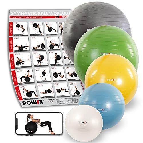 POWRX - Palla Fitness 85 cm per Ginnastica, Yoga & Pilates - PDF Workout & Pompa per Il gonfiaggio - Antiscoppio (Antracite Metallico)
