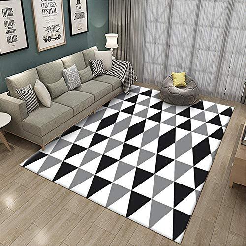 Alfombra Lavable Alfombra Silla Gaming Alfombra de Sala geométrica Negra Gris Blanca Suave y resbaladiza Alfombra recibidor 160X230CM 5ft 3' X7ft 6.6'