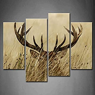 4 Panel Wall Art Deer Stag With Long Antler In The Bushes Painting The Picture Print On Canvas Animal Pictures For Home Decor Decoration Gift piece (Stretched By Wooden Frame,Ready To Hang)