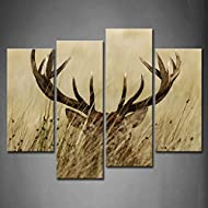 4 Panel Wall Art Deer Stag With Long Antler In The Bushes Painting The Picture Print On Canvas Anima...