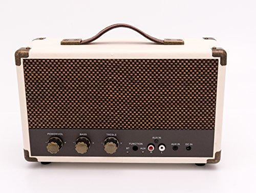 GPO Westwood Speaker Retro 25 Watt con Subwoofer, ingresso RCA, Bluetooth con Grata Retro e Maniglia per il Trasporto – Marrone e Crema